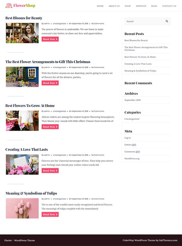 Flower Shop Florist WordPress Theme - Blog