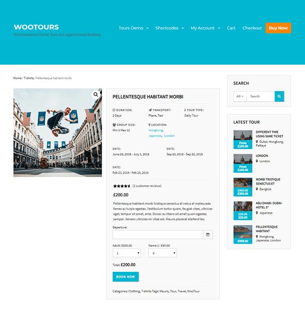 Travel Booking WordPress Plugin - Booking