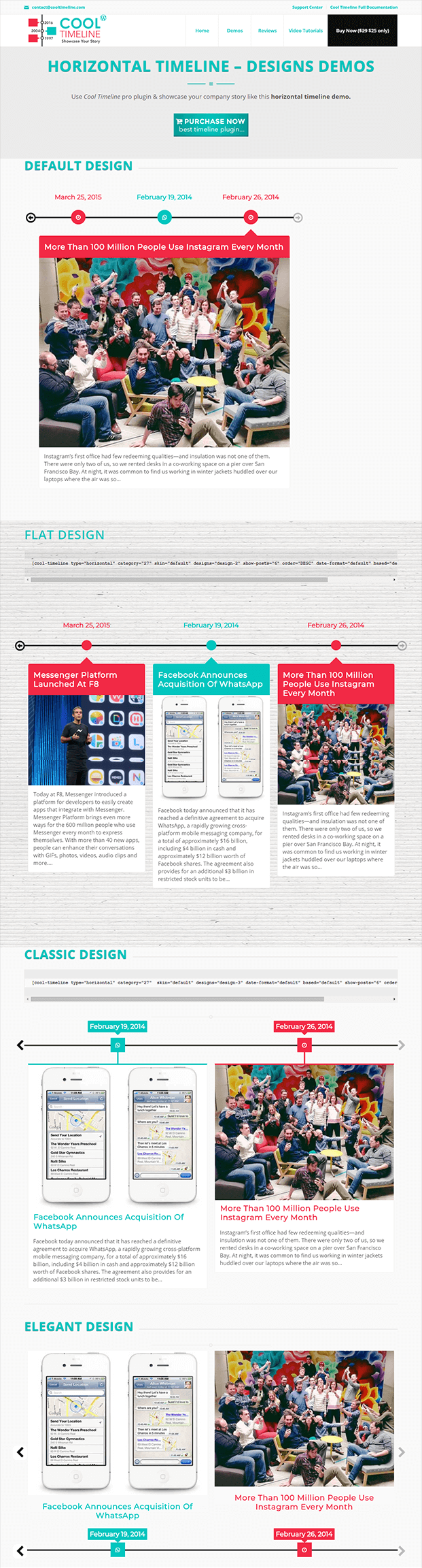 Cool Timeline Pro WordPress Plugin - Horizontal Format