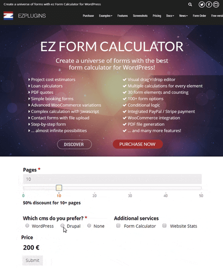ez-form calculator WordPress Plugin