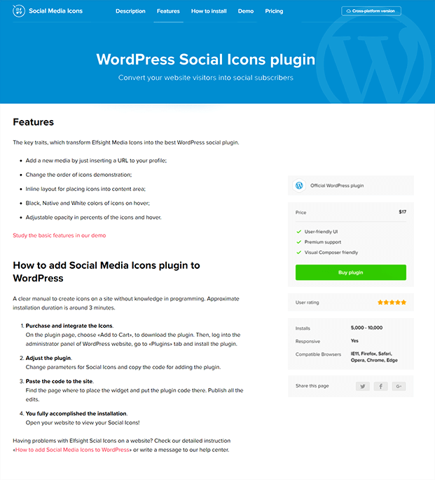WordPress Social Icons Plugin - Features
