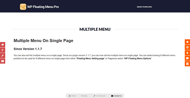 WP Floating Menu Pro Plugin - Multiple Menu Demo