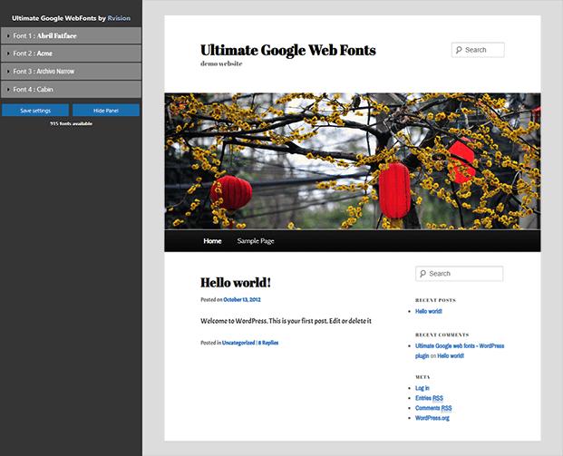 Ultimate Google Fonts Plugin - Home