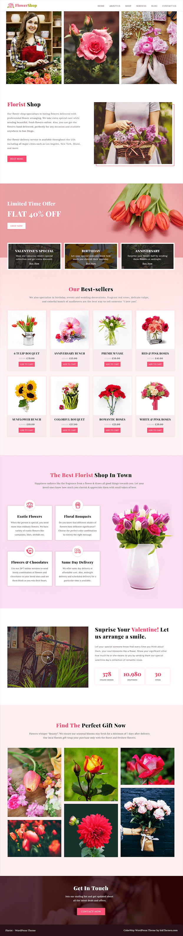 Flower Shop Florist WordPress Theme - Home