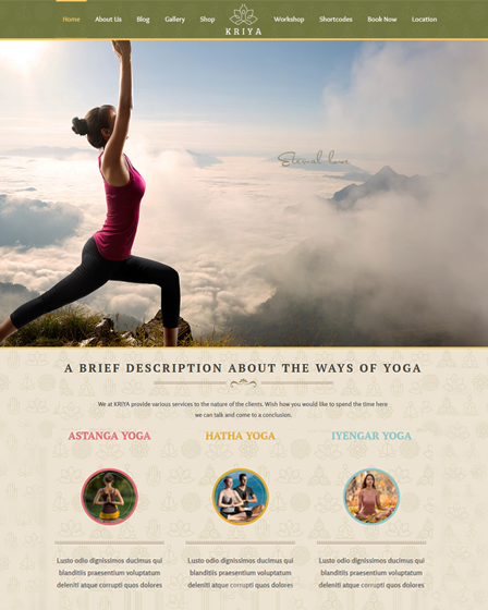 Kriya Yoga - WordPress Theme For Yoga & Health Centres