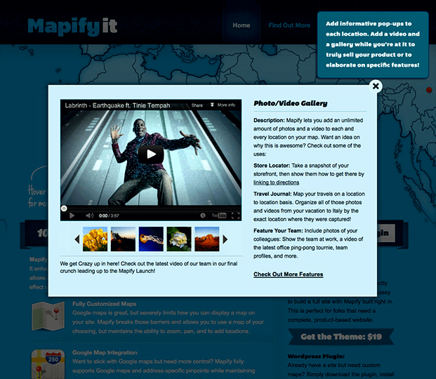 Mapify Google Map Plugin - Image & Video Gallery