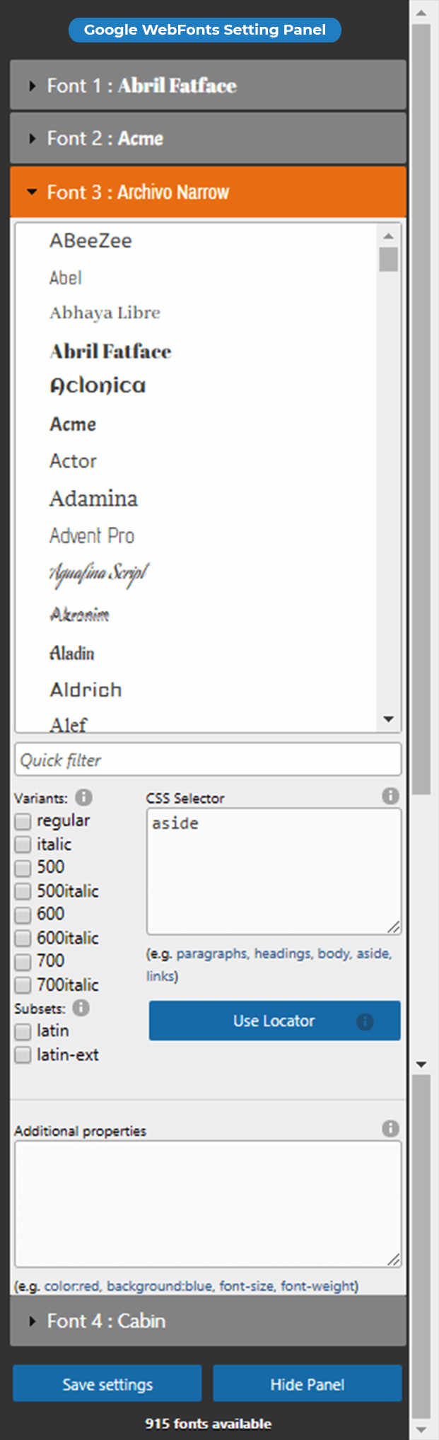 Ultimate Google Fonts Plugin - Google Fonts Setting Panel