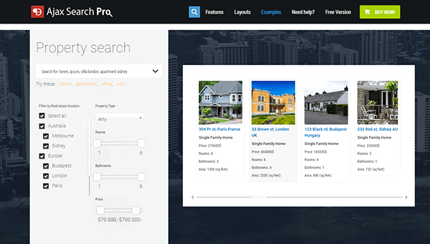 Ajax Search Pro Plugin - Property Search Example