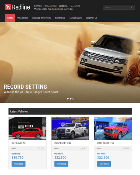 Redline - Responsive Wordpress Theme For Car Dealership