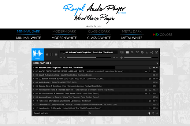 MP3 Sticky Audio Player Plugin - Playlist