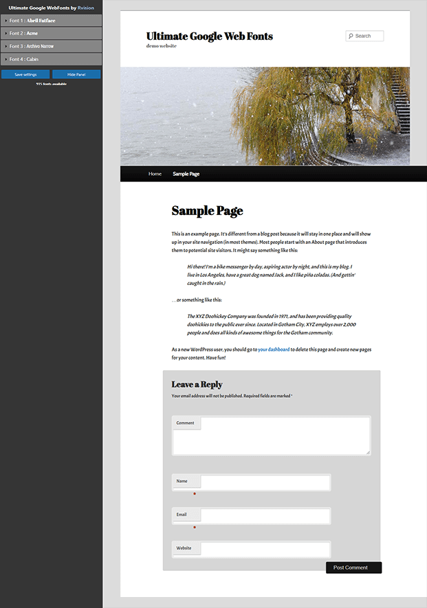 Ultimate Google Fonts Plugin - Sample Page