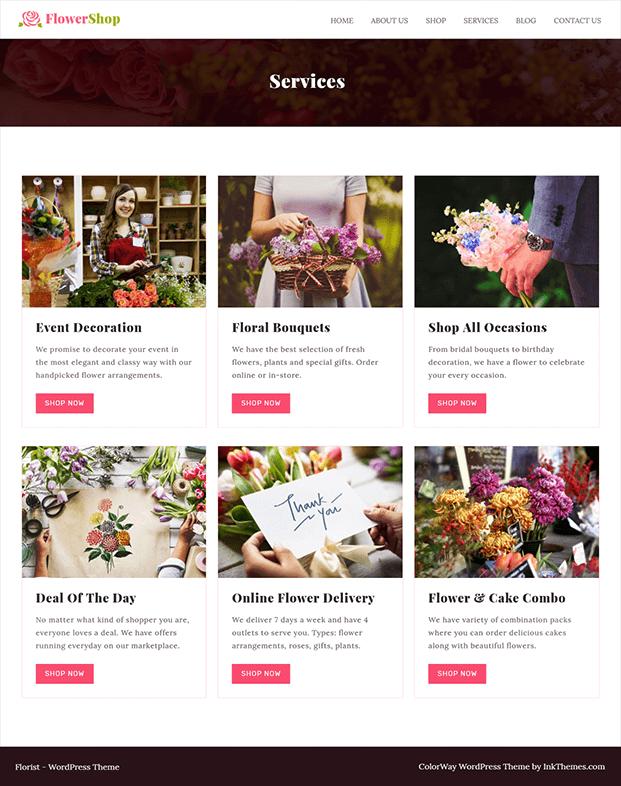 Flower Shop Florist WordPress Theme - Services