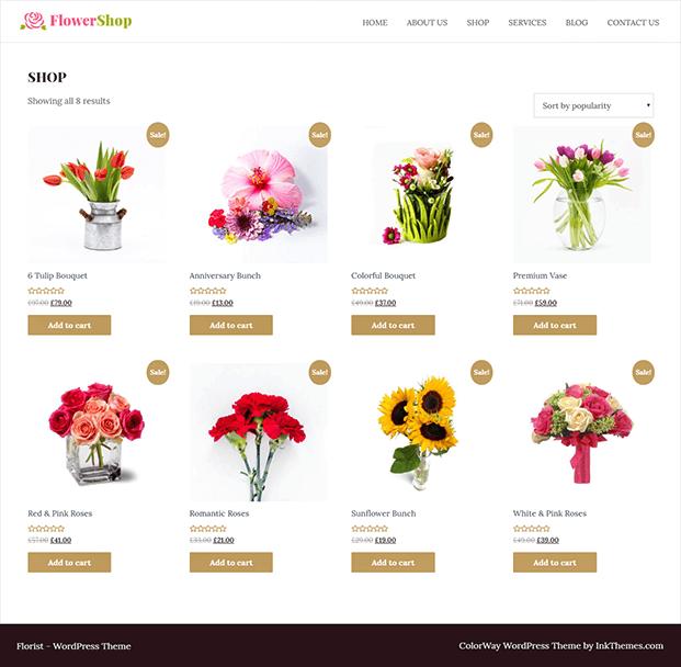 Flower Shop Florist WordPress Theme - Shop
