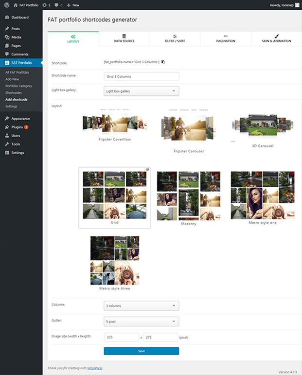 Shortcode generator - Portfolio WordPress Plugin