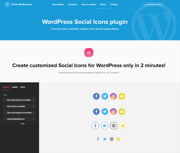 WordPress Social Icon Plugin - Demo