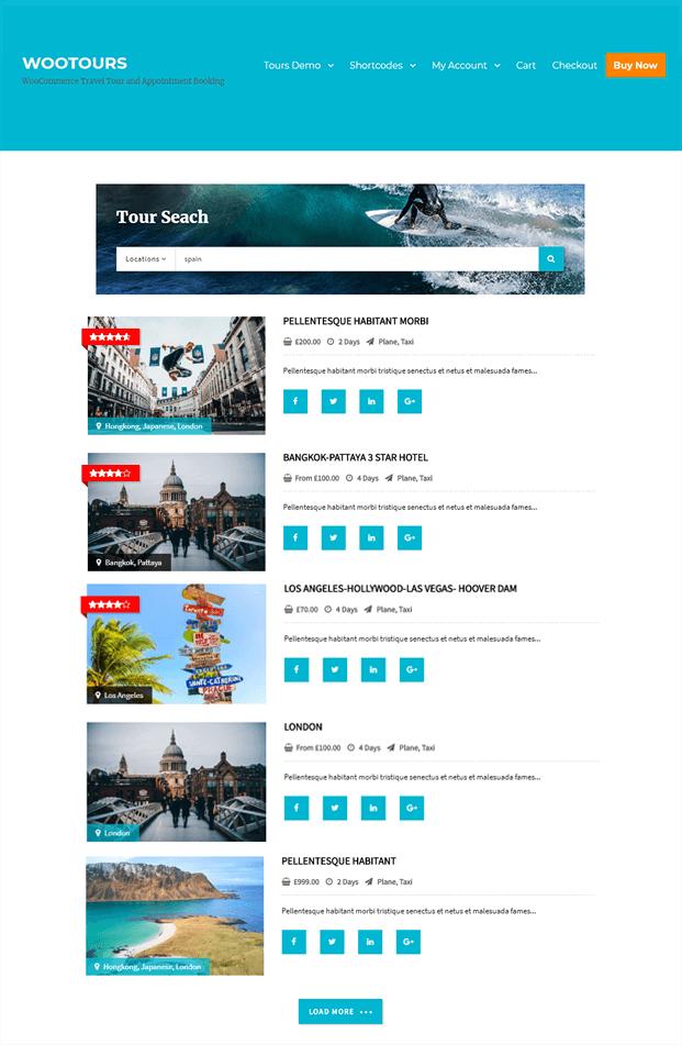 Travel Booking WordPress Plugin - Tour Search