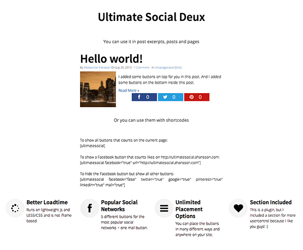 Ultimate Social Share Plugin - Example