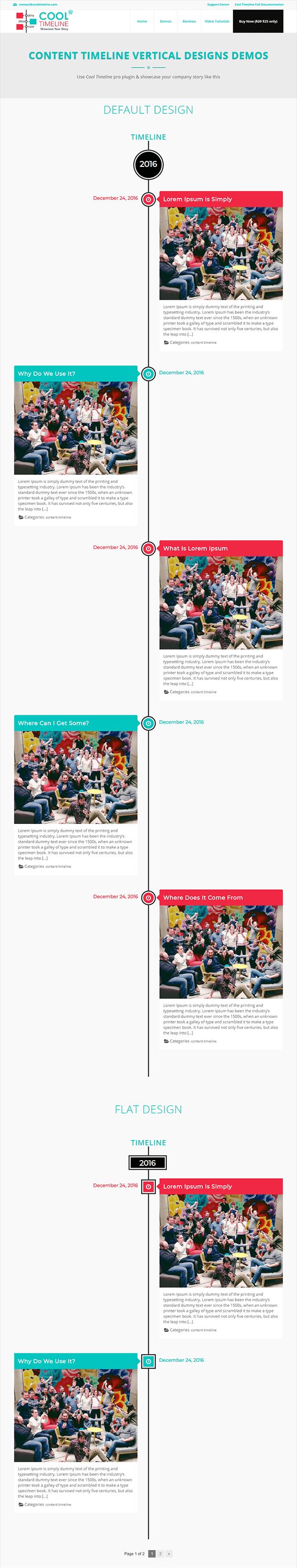 Cool Timeline Pro WordPress Plugin - Vertical Format