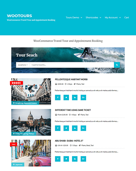 WooTour - travel booking wordpress plugin
