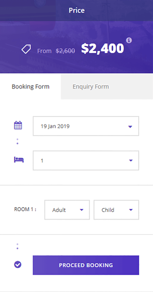 Tour Master Wordpress Plugin - Booking Form