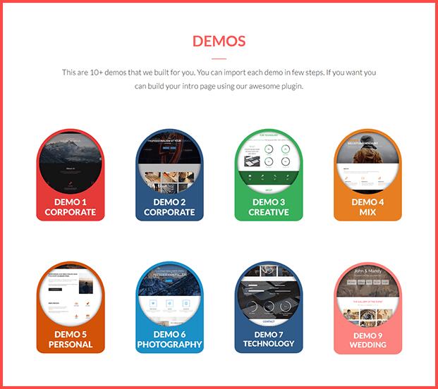 Parallax One Page Builder Plugin - Demos