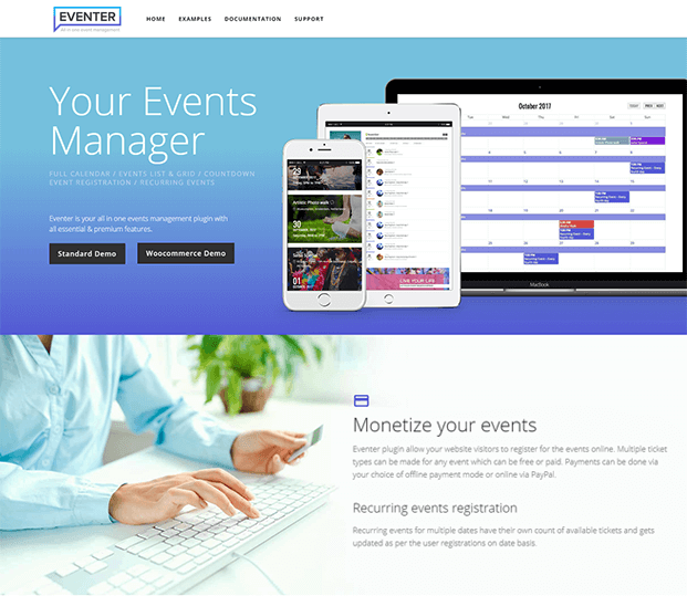 Eventer Event Management Plugin - Home