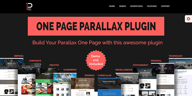 Parallax One Page Builder Plugin - Home