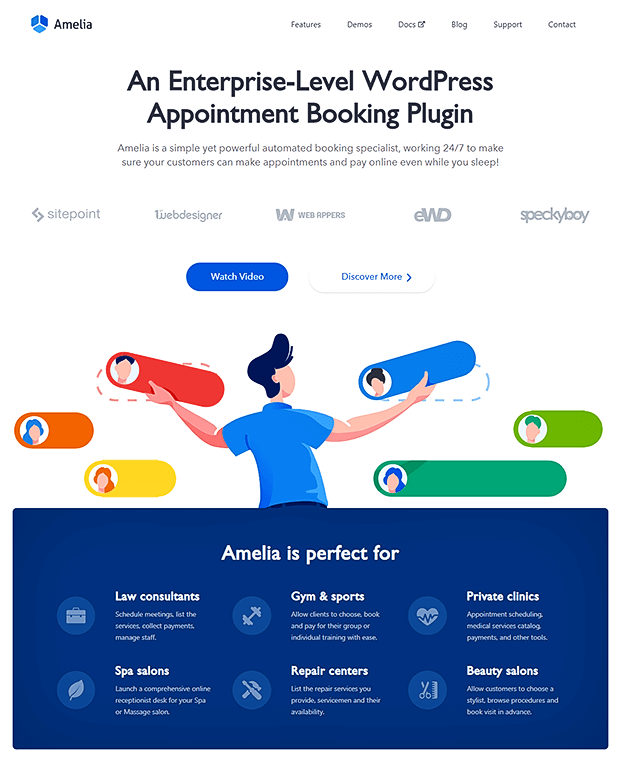 Amelia  Appointment Booking Plugin - Home