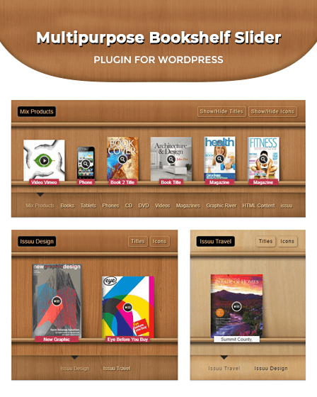 Multipurpose Bookshelf Slider Plugin For WordPress