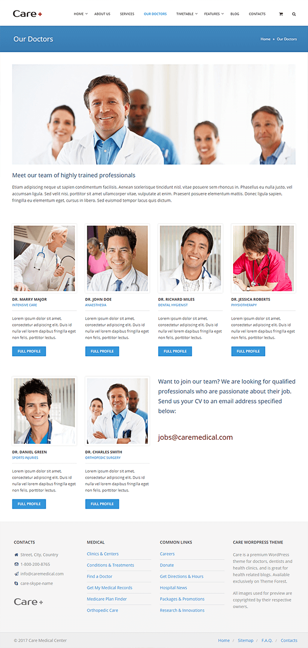 Our Doctors Page