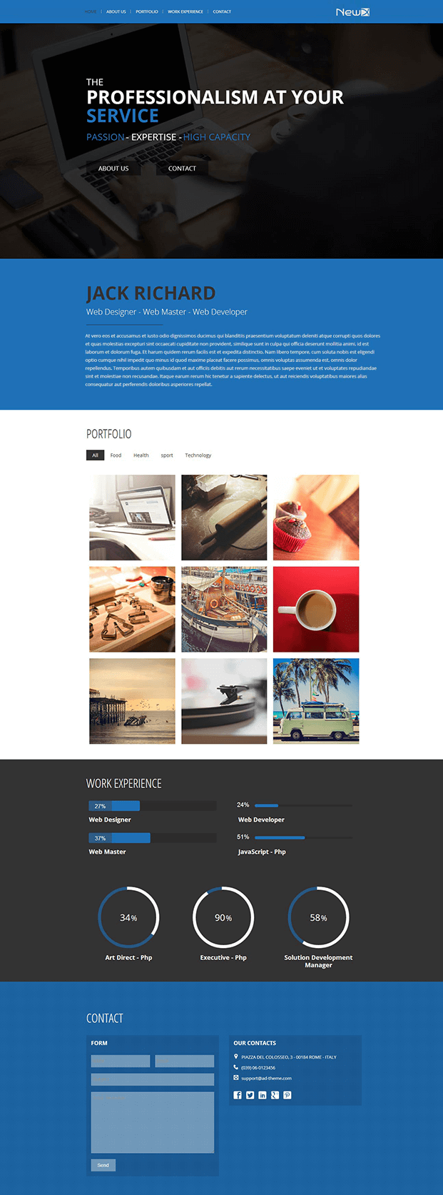 Parallax One Page Builder Plugin - Demo One Page