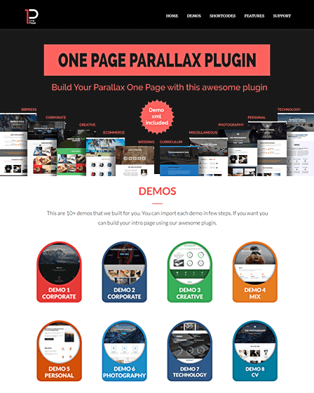 Parallax One Page Builder Plugin