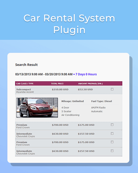 WordPress Car Rental Plugin