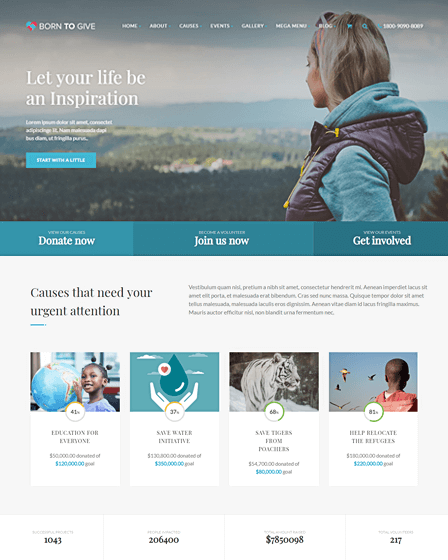 Born To Give - WordPress Crowdfunding Theme