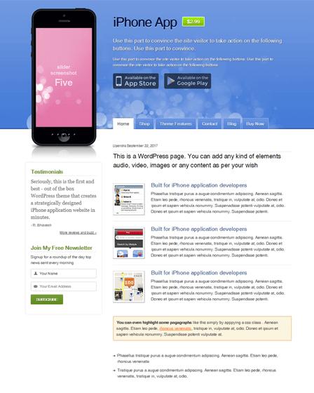 WordPress Theme For Mobile App