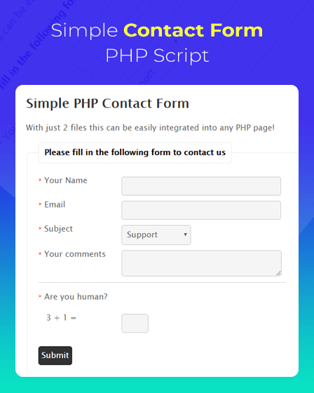 PHP Script For Contact Form