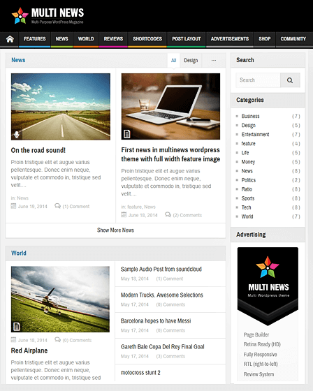 Multinews Magazine News WordPress Theme