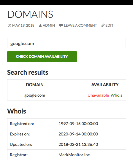 Domains Names Checker WordPress Plugin