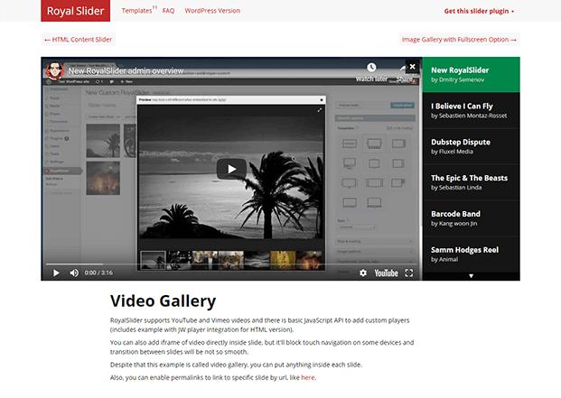 RoyalSlider WordPress Plugin - Video Gallery