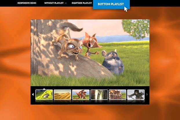 HTML5 Video Player WordPress Plugin - Bottom Playlist