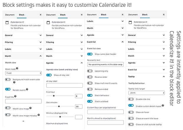 Calendarize it WordPress Plugin - Block Settings