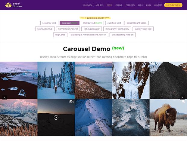 Flow-Flow Social Stream Plugin - Carousel Layout Demo