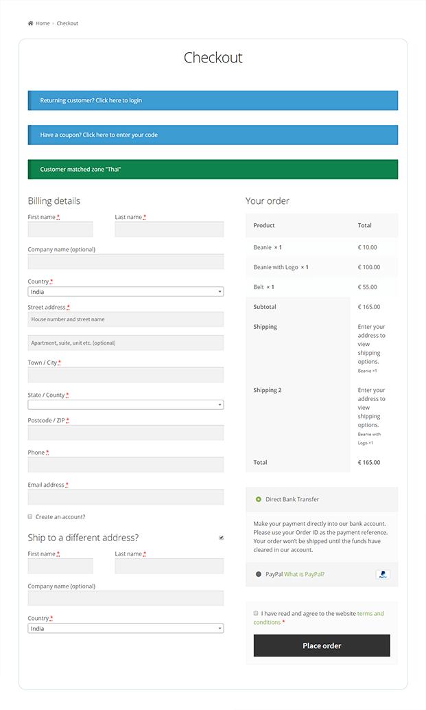 Checkout shipping WordPress plugin