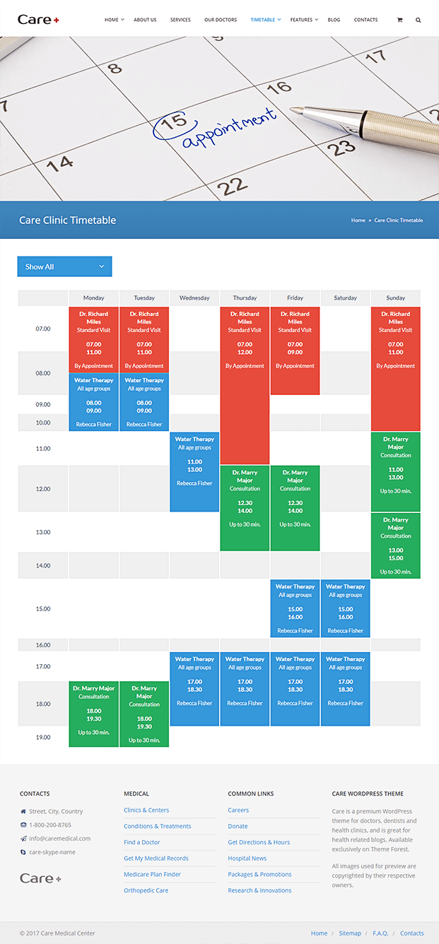 Timetable Page