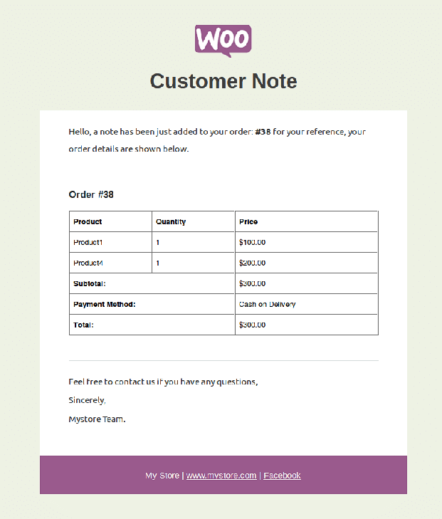 WooCommerce Email Customizer Plugin - Customer Note