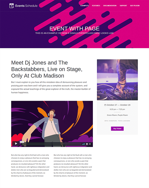 Events Schedule WordPress Plugin - Event In One Page