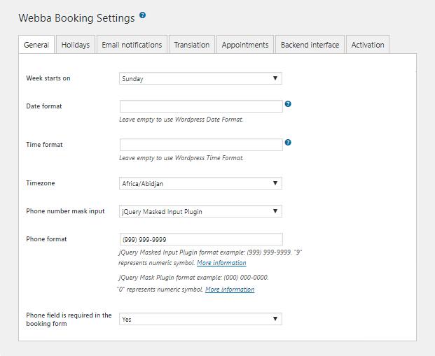 Webba Booking WordPress Plugin - Setting Panel