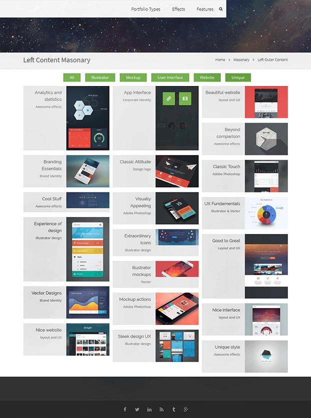 WordPress Plugin For Portfolio - Left Content Masonry