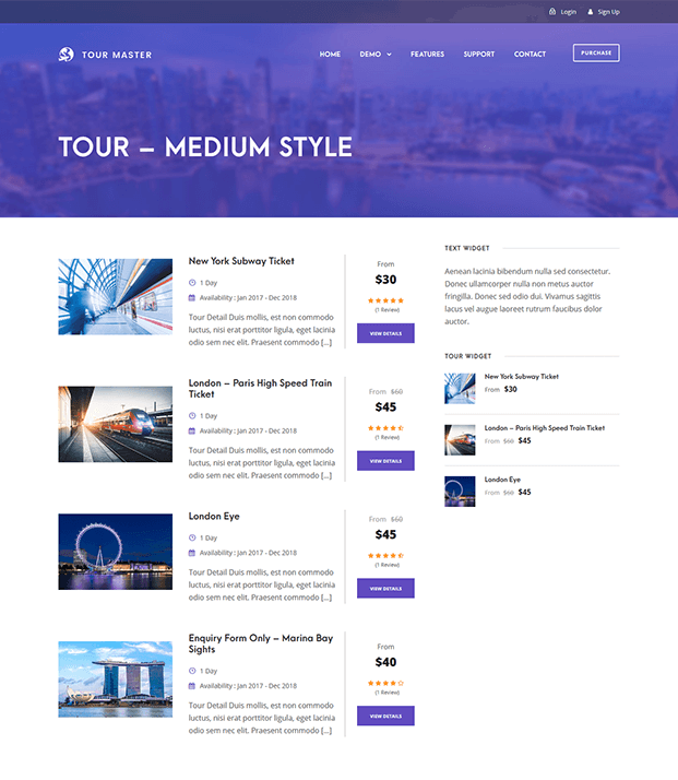 Tour Master Wordpress Plugin - Medium Style
