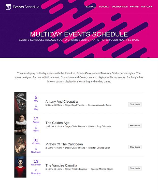Events Schedule WordPress Plugin - Multi Day Events
